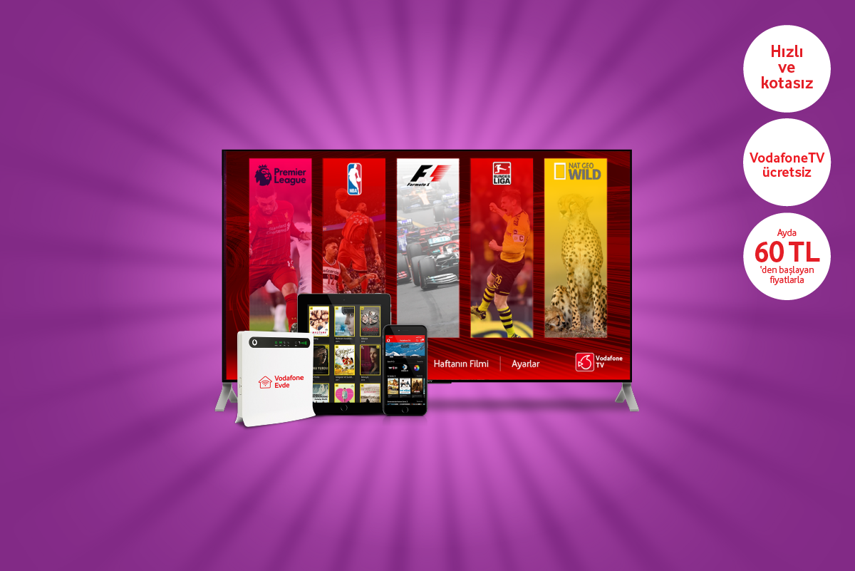 Evde İnternet + Vodafone TV
